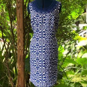 Kim Rogers | Linen Blue & White Shift Dress